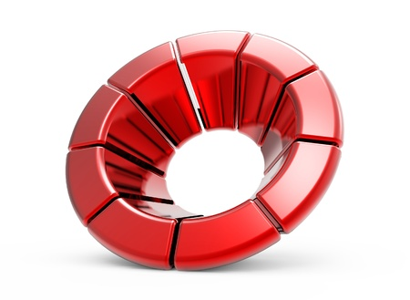sectors: Metal ring from red sectors