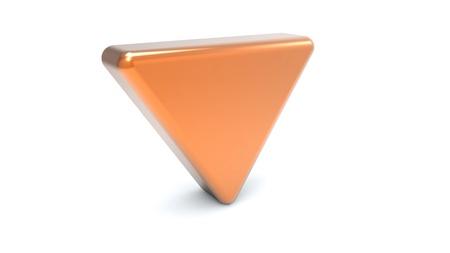 hazardous metals: Gold triangle on white background Stock Photo