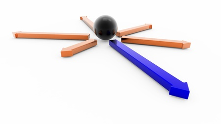 Black sphere and arrows showing different directions Stock Photo - 11265763