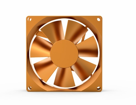cooler: The computer fan a cooler from yellow metal of gold