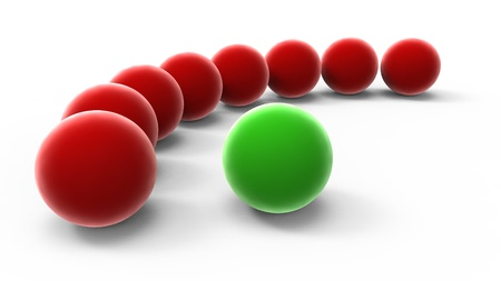 among: Red spheres among and one green on a white background
