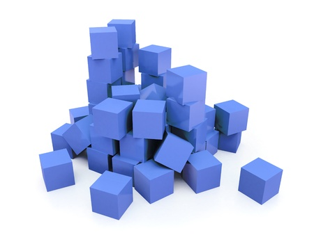 scattered: of scattered blue cubes on white background Stock Photo