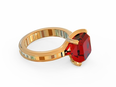 ruby stone: Gold jewelry ring with a precious ruby stone