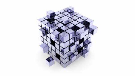 Abstract construction of shiny metal cubes Stock Photo - 12054194