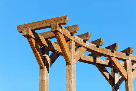 atmosphere construction: Wooden ladder on sky background Stock Photo