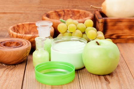 vine pear: Natural beauty products from fruits Stock Photo