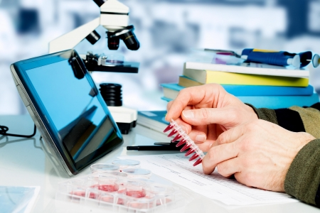 biological: Workplace in the laboratory of genetic research Stock Photo