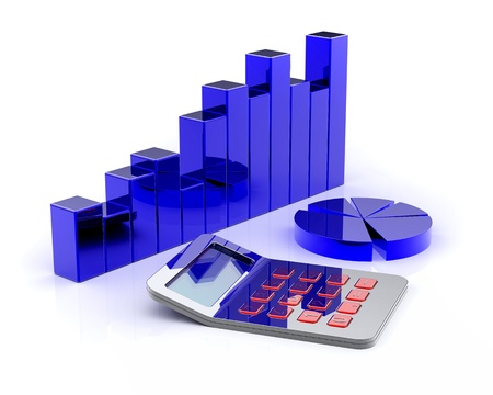 financial report: Calculator and business chart