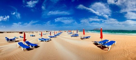 Sunshade and sunbed on sand  beach Fuerteventura island, Spain photo