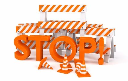 traffic cone: Road work sign stop on white Stock Photo