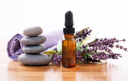 essential oil: Essential oil of lavender Stock Photo