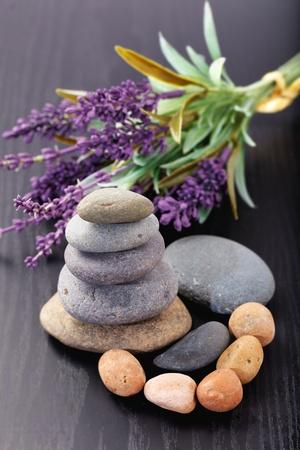 lavandula: Zen stones and lavandula Stock Photo
