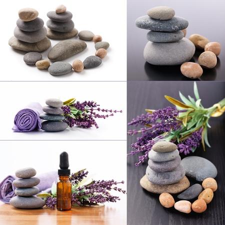 Set of zen stones and aromatherapy photo