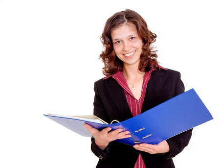 questionary: Young smiling woman with portfolio folder