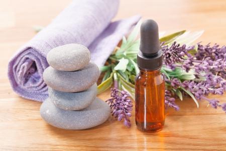 Flower of lavender essential oil photo