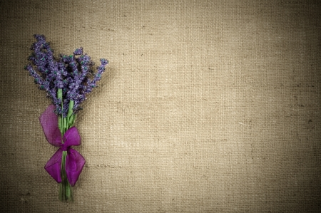 Background of burlap with a bouquet of of lavender photo