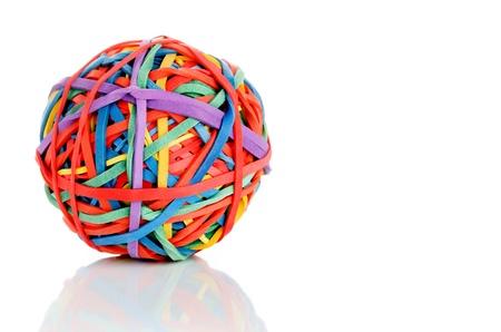 Elastic rubber band on white photo