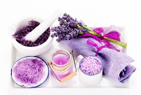 organic spa: Lavender oil and lavender soap
