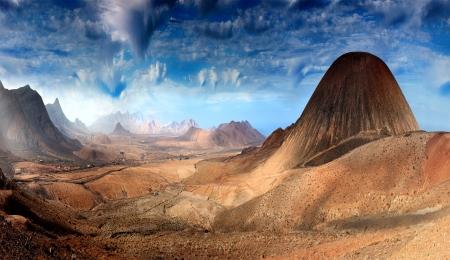 phantasy: Fantastic landscape with  mountains Stock Photo