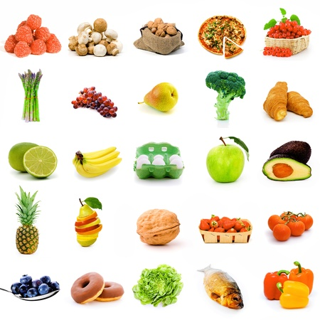 origin: Set of fruit and vegetable  and etc. food Stock Photo