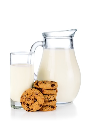 Glass,  pitcher of milk and cookies photo