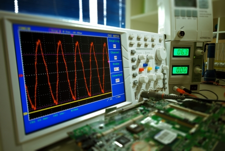 Measurement of a waveform with an oscilloscope photo