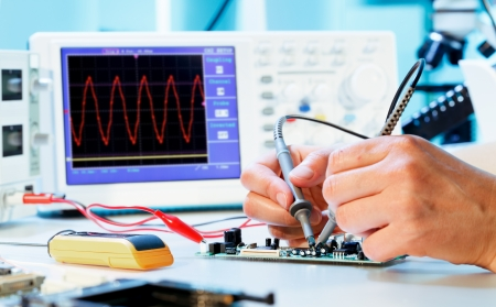 electronic meter: Measurement of a waveform with an oscilloscope