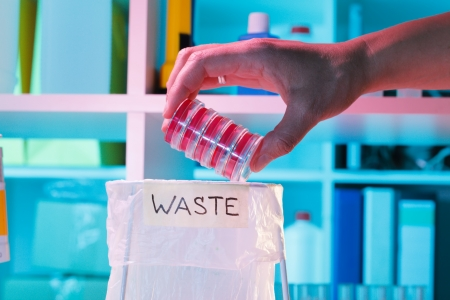 Wastebasket in the biochemical laboratory, safety of biological research photo