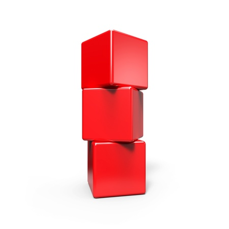 tessera: Three abstract  red cubes  on white Stock Photo