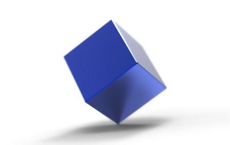 tessera: Blue shiny cube on white background