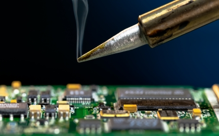 soldering: Solder and electronic circuit board