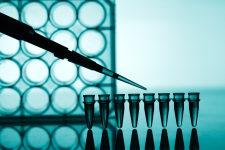 Microtubes and micropipet lab test Stock Photo - 17278391