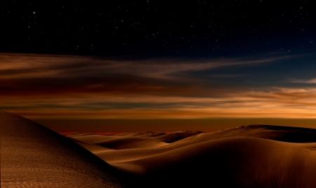 Night in the desert sand dunes