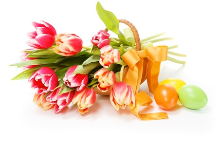 Bouquet of tulips in a basket on a white background Stock Photo - 17433897