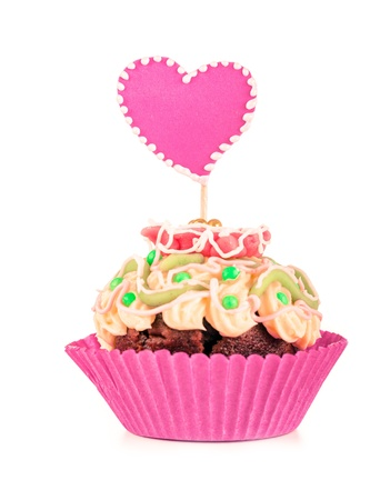 Muffin with two hearts for Valentine photo