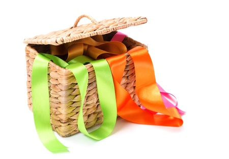 alice band: Wicker basket with colored ribbons