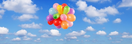 baloons: Color Balloons flying in the Blue sky