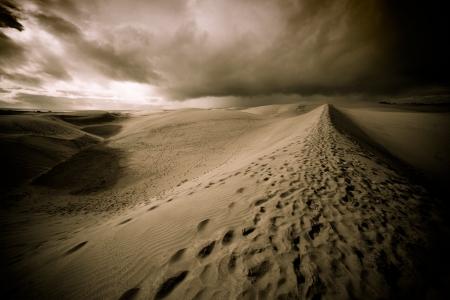 desierto del sahara: Noche en las dunas de arena del desierto