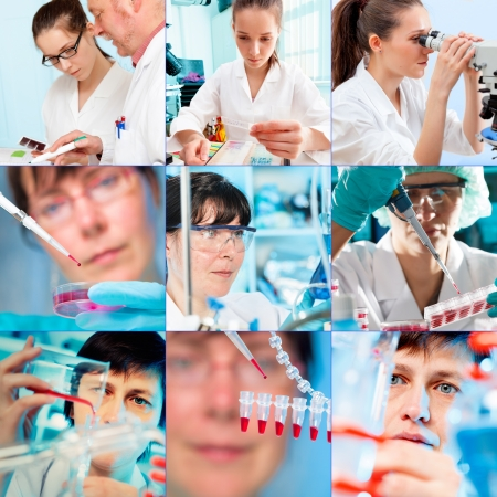 clinical laboratory: Collage of people clinicians studying microbiology genetics in laboratory