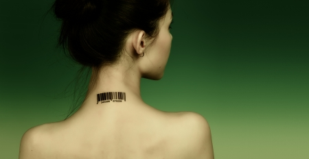 young naked girl: Girl with a bar code on her neck, the protection personal data