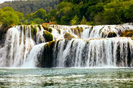 Waterfall in Krka National Park  is one of the Croatian nature River photo