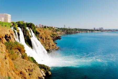 waterfall in the city: Waterfall on Duden river in Antalya, Turkey Stock Photo