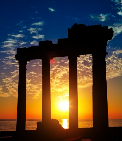 Side Antalya ancient ruins on sunset, Turkey