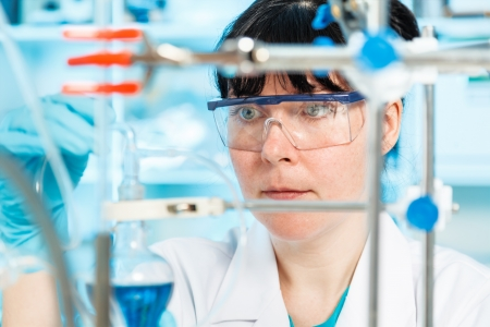 woman laboratory assistant in the laboratory of food quality Stock Photo