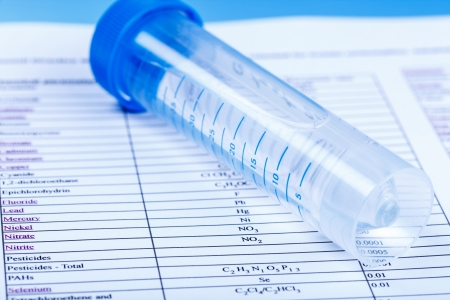 test tubes: water in a test tube for checking the content of chemicals