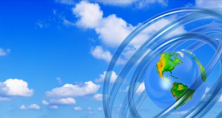 international recycle symbol: earth globe,   air atmosphere concept