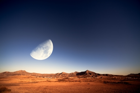 moonlit night in the desert photo