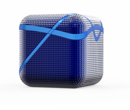 3d blue  cube on a white background photo