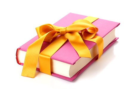 Book gift tied with ribbon