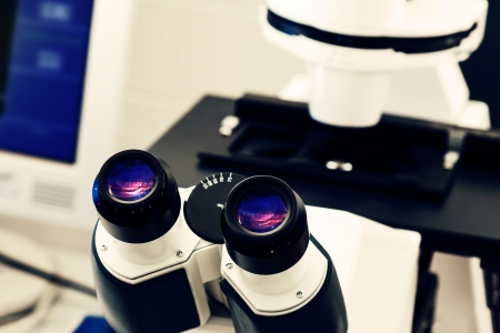 eyepiece: eyepiece of the optical microscope in a laboratory